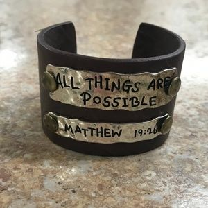 Leather Cuff Bible Verse All Things Are Possible